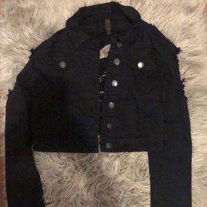 Fashionnova black cropped distressed denim jacket